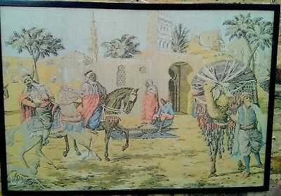 Antique Ottoman Era depiction of Horse Riding Merchants town  tapestry .