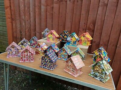 wooden hand decorated bird nesting houses