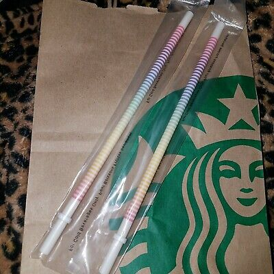 2 New Starbucks Rainbow Pride Stripe Cold Cup Straw Limited Edition REUSABLE
