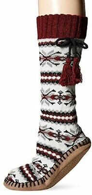 MUK LUKS Women's Tall Concord Grape Slipper Sock Tassels Small Medium Indoor NEW