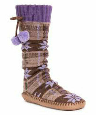 MUK LUKS Women's Tall Timberwolf Slipper Sock Pom Pom Small Medium Indoor NEW