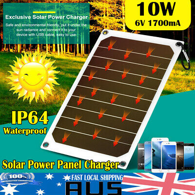 Portable 10W 1700mA IP64 Waterproof Solar Panel Mobile Power Charger Outdoor HOT