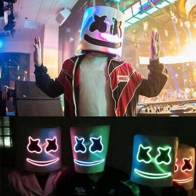 LED Mask DJ MarshMello Full Head Helmet Halloween Easter Cosplay Bar Music Prop