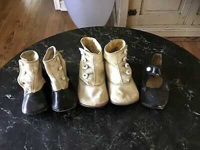 Vintage Antique Victorian Leather Baby Child Button Shoes Lot of 5