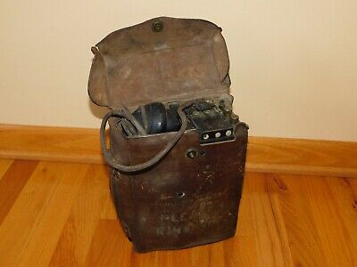 WW2 Signal Corps U.S. Army Telephone Hand Crank In Leather Case