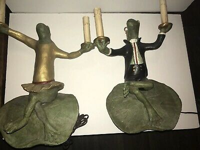 Vintage Ying Long Mr Mrs Frog Lamps Lot Of 2 Lilly Pad Light Candle Large