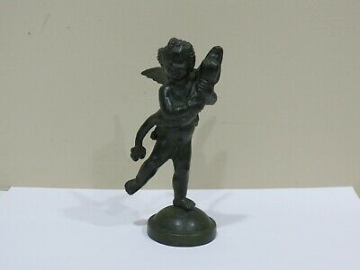 """Vintage """"Angel With Dolphin"""" Solid Painted Bronze Statue"""