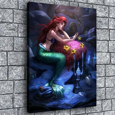 """12""""x16""""Bored Mermaid HD Canvas Print Painting Home Decor room Wall Art Pictures"""