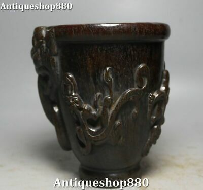 Old Ox Horn Carving Dynasty Palace Dragon Pixiu Beast Wine Cup Wineglass Goblet