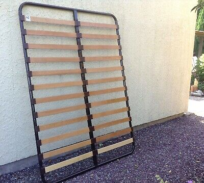 French Slatted Mattress Base Frame - Beech Slats - Metal Frame Double - Used