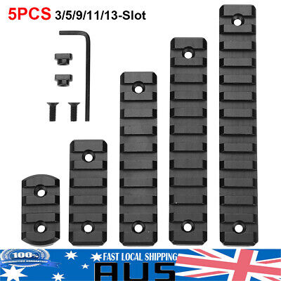 5PCS M-LOK Rail Section 3/5/9/11/13 Slot Metal Picatinny / Weaver Rail Set