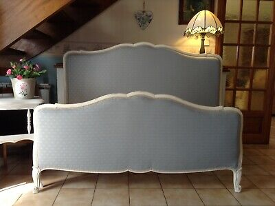 "French Vintage Capitonne Double Bed Frame - Cream  - Linwood ""Baird"" Powder Blue"