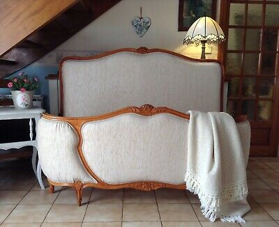 Vintage French Demi Corbeille Double Bed Frame -  Wood - Cream Upholstery