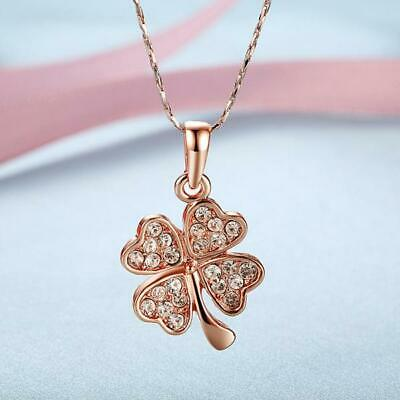 18K GOLD GP Four Leaf Lucky Crystal Flower Pendant Clover Charm Necklace Gift
