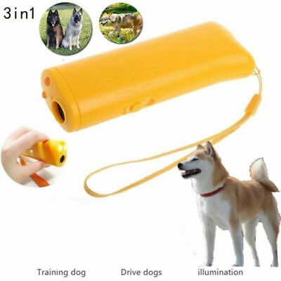 3 in 1 Ultrasonic Aggressive Dog Pet Repeller Training Anti Barking Device US