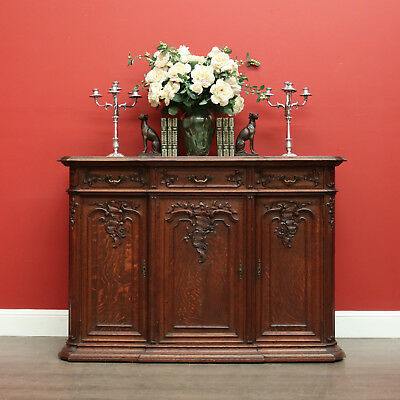 Antique Sideboard, French, 3 Doors, Oak, Hall Cabinet, Carved Detail, 3 Drawers
