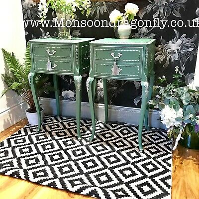 Pair of French Olympus Louis Style Pair Bedside Cabinets Tables In Lovely Green