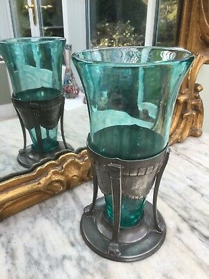 Stunning & Original Liberty Pewter & Green Glass Vase. Circa 1904