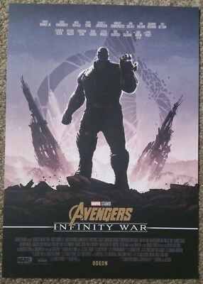 Marvel Avengers Infinity War A4 Poster From Odeon Cinema RARE from booking only!