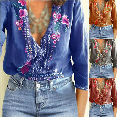 Womens Embroidered Floral Boho Tops Blouse Vintage Summer Casual T shirt Baggy