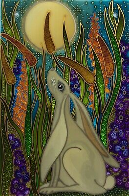 Moon gazing hare Original hand painted Stained Glass style panels, splashbacks