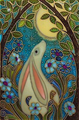 Moon gazing hare for-get-me-not Original hand painted Stained Glass style panel