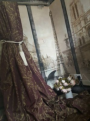 """NEW! Sublime Bespoke Huge French Damask Maroon Gold 115""""Long 54""""W Lined Curtains"""
