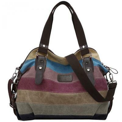 2d782af56e0b2 Coofit Multi-Color-Striped Canvas Damen Handtasche   Umhängetasche Tasche.