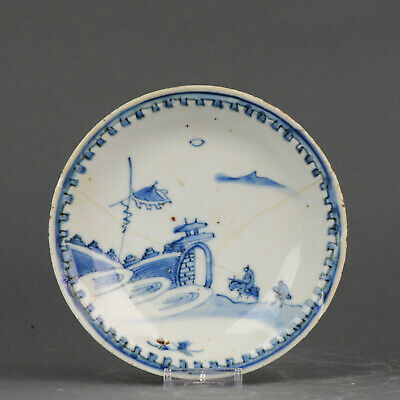 Antique Chinese 17th C Porcelain Ming Tianqi Transitional Literati Plate...