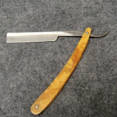 """Case Brothers Little Valley 6-1/4"""" Straight Razor Yellow & Amber Swirl Celluloid"""