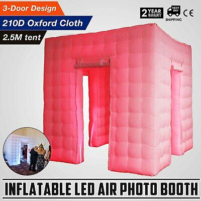 3 Doors Inflatable LED Air Pump Photo Booth Tent Remote Control Party Spacious