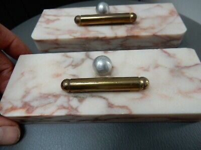 Unusual Art Deco -    Ball And Bar On Marble Photograph  Bases  --   A Pair