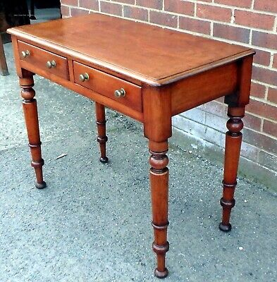 William IV antique solid mahogany brass compact 2 drawer writing table desk