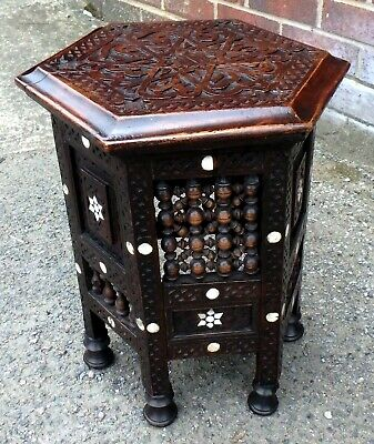 Victorian antique Arts Crafts Moorish Liberty inlaid mashrabiya side lamp table