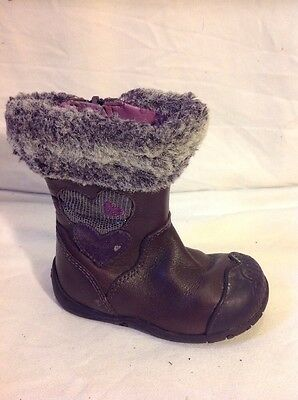 Girls Clarks Maroon Leather Boots Size 4.5F