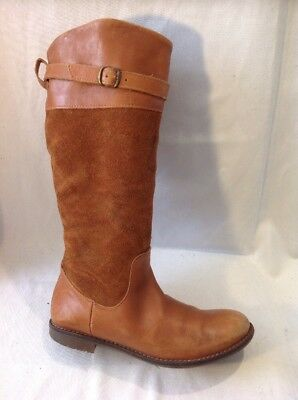 Girls Zara Brown Leather Boots Size 32