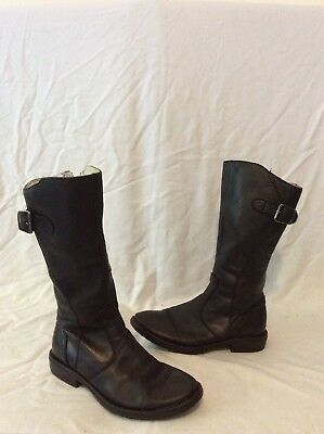 Girls Russell&Bromley Black Leather Boots Size 29