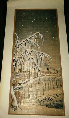 Vintage Japanese Woodblock Print On Christmas Greeting Card Bridge Snow Scene