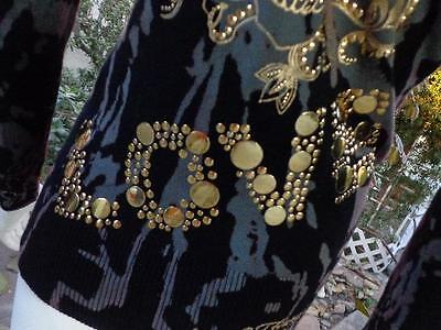"ED HARDY Small Stenciled ""LOVE"" Casual Hooded Blouse Top Shirt Gold Decorations"
