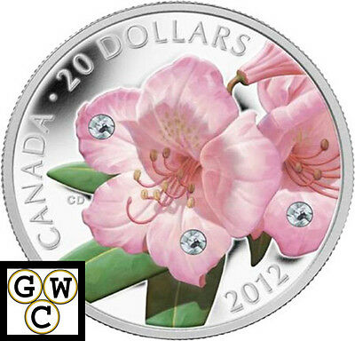 2012 Rhododendron Colorized & Crystallized Prf $20 Silver Coin 9999 Fine (13030)