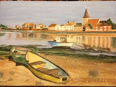 Bosham Sussex Fishing Boat Original Signed Acrylic Painting