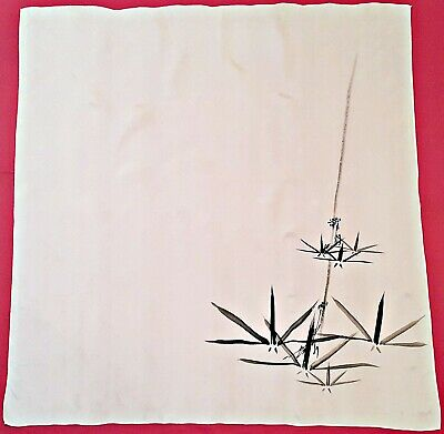 "Vintage Authentic Hand Painted Chinese Art Bamboo White Silk 34"" Square Scarf"