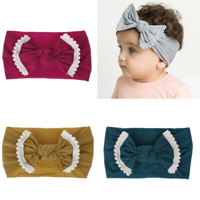 Baby Girl Kid Big Bow Hairband Headband Cotton Stretch Turban Knot Head Wrap New