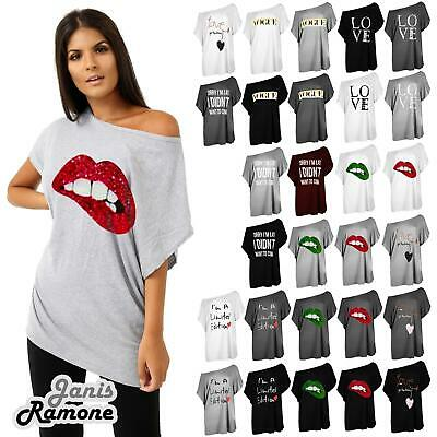 Plus Size Womens Batwing Sleeve Printed Off Shoulder Bardot Oversize T-Shirt Top