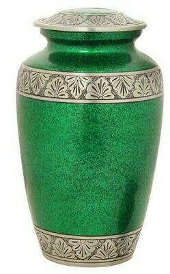 Large/Adult 200 Cubic Inch Metal Royal Green Funeral Cremation Urn for Ashes