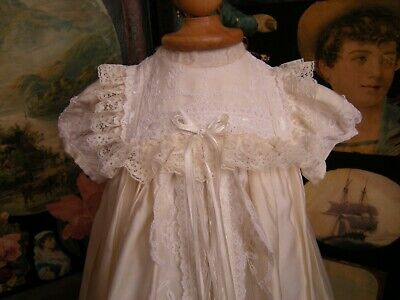 Vintage Christening Gown Heavy Satin Very Ornate With Lace/ Ribbons   Vgc