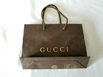 d2f0df5ee9b2 NEW GUCCI BROWN Small Paper Gift Shopping Bag 9