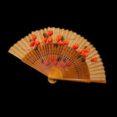 Antique Vintage Nouveau Wood Chinese Qing Womens Painted Floral Flower Hand Fan