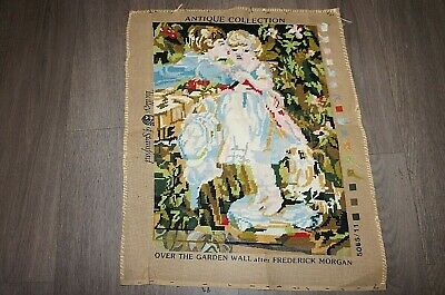 "Vintage handmade woolwork needlepoint panel boy & girl kiss 23"" X 18"""