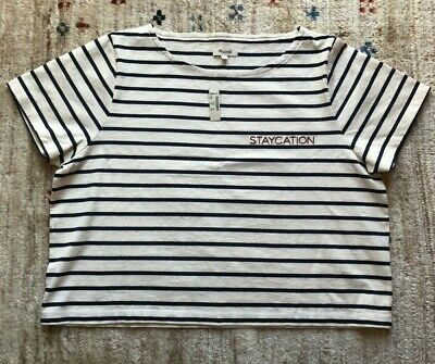 b2a3e407681 NWT Madewell Embroidered Setlist Staycation Boxy Tee, Cropped, Striped,  Size L